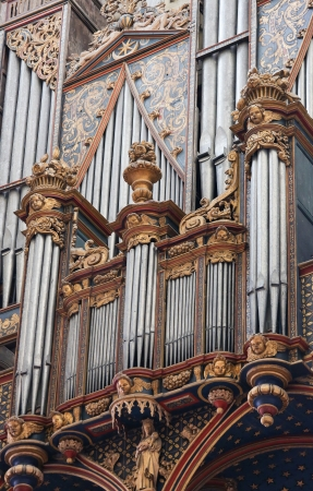 Organ in the Cathedral of Our Lady of Amiens, France, on February 9, 2013. This organ was created more than 300 years ago, no property release is required. Stock Photo - 18045760
