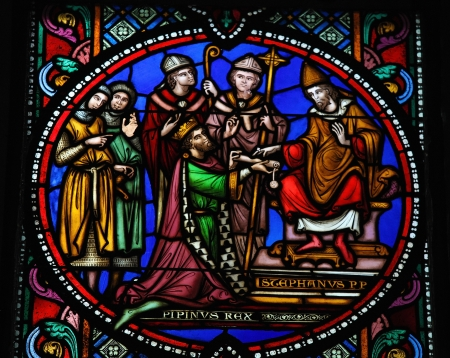 Pepin the Younger re-consecrated as king by Pope Stephen II in 754, on a stained glass window in the cathedral of Brussels, Belgium, on July 26, 2012  This window was created in the 19th Century  No property release is required  Stock Photo - 18114027