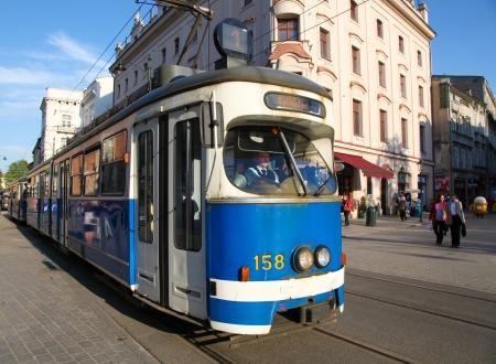 Tram on Franciscanska street, in Krakow, Poland on April 26, 2011.