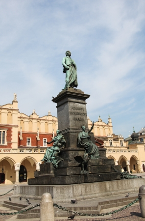 mickiewicz: Statue of Adam Mickiewicz, famous Polish poet, on the central market square in Krakow, Poland. Stock Photo