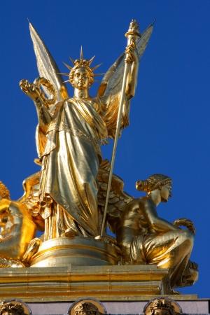 garnier: Statue on the Opera Garnier in Paris, France