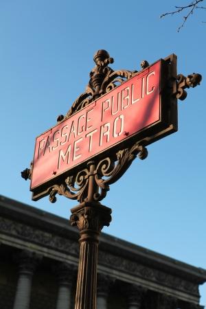 Metro sign in Paris reading  photo