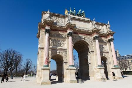 carrousel: Triumphal Arch  Arc de Triomphe du Carrousel  at Tuileries gardens in Paris, France