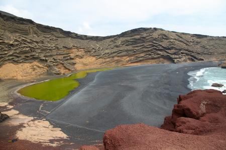 timanfaya: Lago seco en el Parque Nacional de Timanfaya en la isla de Lanzarote Foto de archivo