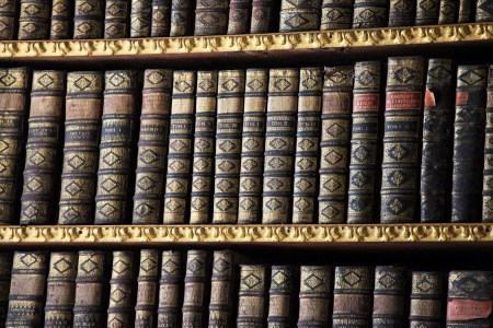 Old books in the Library of Stift Melk, Austria. All these books were created more than 200 years ago, no property release is required.