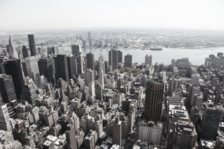 Black and white image of skyline of Manhattan in New York City, United States