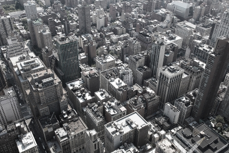 Black and white image of rooftops of Manhattan in New York City