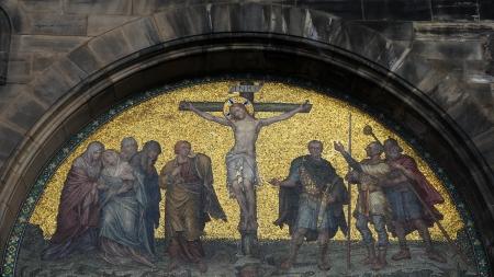 inri: Mosaic of Jesus Christ on the cross at Saint Peters church in Bremen, northwestern Germany. Stock Photo