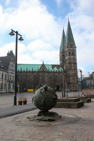 populous: Saint Peters cathedral in Bremen, Germany, on April 7, 2013. Bremen is the second most populous city of northern Germany.