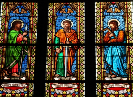 paulus: Stained glass window in the church of Bad Doberan, a town in the district of Rostock, Mecklenburg-Vorpommern, Germany. This window depicts Saint Mathias, Saint Paul and Saint Andreas. This window was created before 190, no property release is required. Editorial
