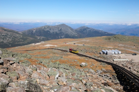 Mount Washington Cog Railroad to the peak in the White Mountains, Coos County, New Hampshire, United States. photo