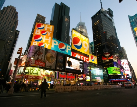 Billboards at Times Square in New York City on January 22, 2009. Times Square is a symbol of New York City.