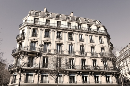 ile de la cite: Paris Apartment block, in the typical neoclassical style  sepia image