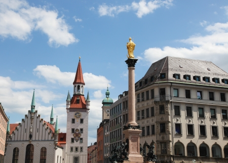 Altes Rathaus, the old town hall, and the column of Saint Mary, on the Marienplatz in the old town of Munich, capital of Bavaria, Germany  All visible statues and inscriptions were created more than 100 years ago, no property release is required  photo