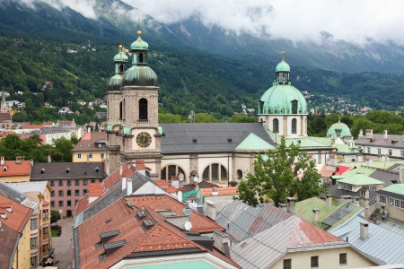 Panoramic view on the Dom in the old center of Innsbruck, Austria. Stock Photo - 21490979