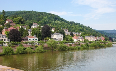 View from the Old Bridge over the Neckar on Heidelberg, Germany. photo