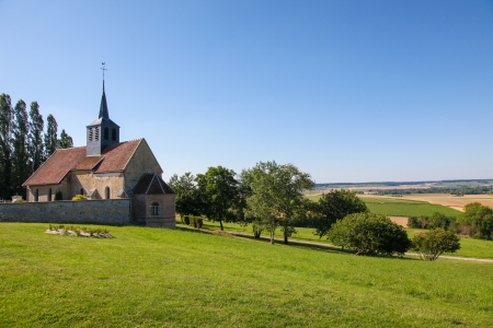 champagne region: Church of a small village in the Champagne region in France, near Reims. Stock Photo
