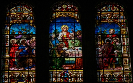 Stained glass window depicting the Last Supper, in the cathedral of Malaga, Spain, on November 29, 2013  This window was created more than 100 years ago, no property release is required  Stock Photo - 24245579