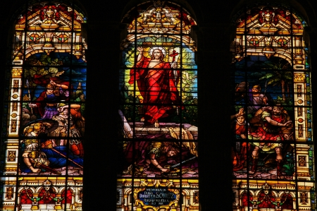 rising dead: Stained glass window depicting Jesus rising from the grave, located in the cathedral of Malaga, Spain, on November 29, 2013  This window was created more than 100 years ago, no property release is required
