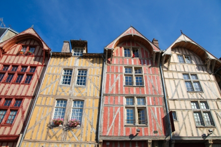champagne region: Famous historic half-timbered houses in the center of Troyes, capital of the Aube department in the Champagne region in north-central France  Stock Photo