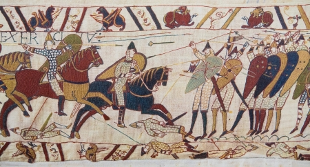 Detail of the Bayeux Tapestry depicting the Norman invasion of England in the 11th Century  This tapestry is more than 900 years old, no property release is required  Фото со стока - 24854192