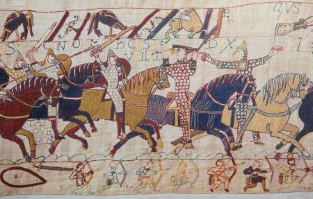 Ausschnitt aus dem Teppich von Bayeux, das den normannischen Invasion Englands im 11. Jahrhundert Dieser Teppich ist mehr als 900 Jahre alt, ist kein Eigentum-Release