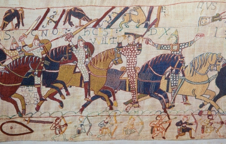 conqueror: Detail of the Bayeux Tapestry depicting the Norman invasion of England in the 11th Century  This tapestry is more than 900 years old, no property release is required