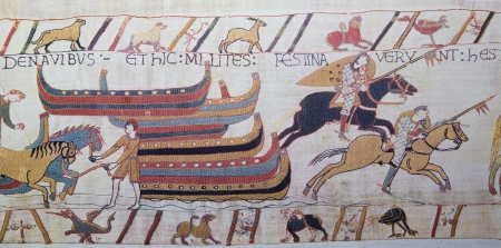 hastings: Detail of the Bayeux Tapestry depicting the Norman invasion of England in the 11th Century  This tapestry is more than 900 years old, no property release is required