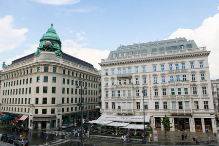VIENNA, AUSTRIA - MAY 25: The Hotel Sacher, a five-star hotel located in the Innere Stadt first district of Vienna, Austria, next to the Vienna State Opera, on May 25, 2010. It is famous for the specialty of the house, the Sachertorte, a chocolate cake.