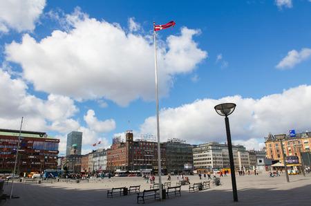 COPENHAGEN, DENMARK - APRIL 19: The City Hall Square (Danish: Radhuspladsen) in the center of Copenhagen, Denmark, on April 19, 2010.
