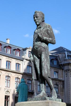 COPENHAGEN, DENMARK - APRIL 19: Statue of the famous Danish philosopher Kierkegaard near the Marble Church in the center of Copenhagen, Denmark, on April 19, 2010.