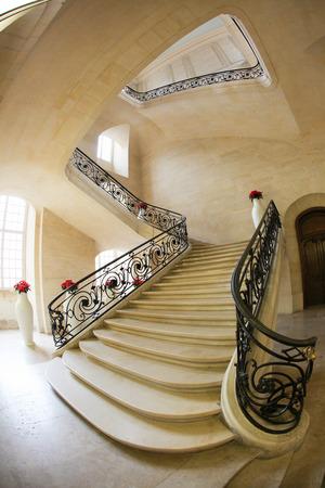 upstairs: Marble stairway in an art deco building