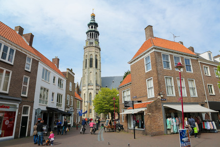 MIDDELBURG, THE NETHERLANDS - APRIL 12, 2014:  Center and Lange Jan tower in Middelburg, capital of Zeeland province, the Netherlands.