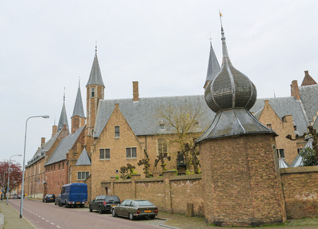 MIDDELBURG, THE NETHERLANDS - APRIL 12, 2014:  Abbey in Middelburg, capital of Zeeland province, the Netherlands.
