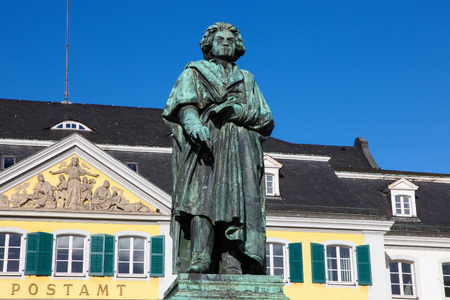 rhine westphalia: Famous Beethoven Monument in front of the Postamt in Bonn, North Rhine Westphalia, Germany This statue was created before 1900, no property release is required