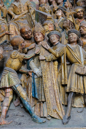 sainthood: AMIENS, FRANCE - FEBRUARY 9, 2013: Famous sculpture depicting the life of Saint Firmin, a famous saint who died in Amiens. Located in the Cathedral of Our Lady of Amiens, France.