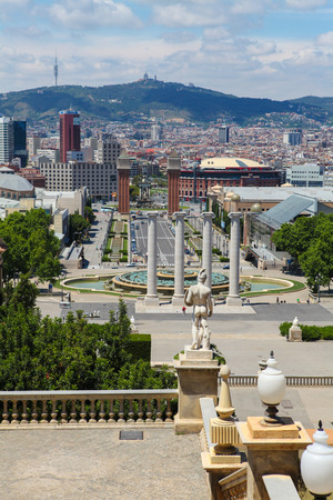 BARCELONA, SPAIN - JUNE 6, 2011: View from Montjuic on the Venetian Towers and the Placa Espana in Barcelona, Catalonia, Spain.