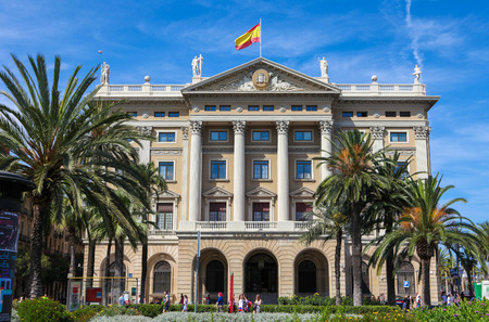 famous building: BARCELONA, SPAIN - JUNE 6, 2011: The Comandancia is a famous building at the end of La Rambla in Barcelona, Catalonia, Spain.