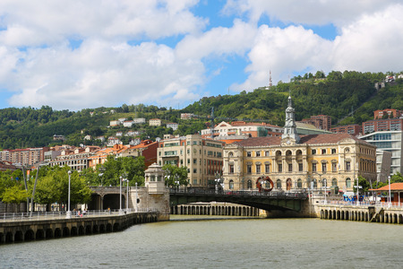 bilbo: BILBAO, SPAIN - JULY 10, 2014: View on the center of Bilbao, Basque country, Spain.