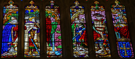 credited: OVIEDO, SPAIN - JULY 17, 2014:  Stained glass window depicting Pelagius or Pelayo of Asturias in the cathedral of San Salvador in Oviedo, Spain. Pelagius is credited with starting the Reconquista, the Christian reconquest of Spain from the Moors.