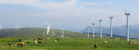 cattle grid: Onshore wind farm in the Northern part of Galicia, Spain.