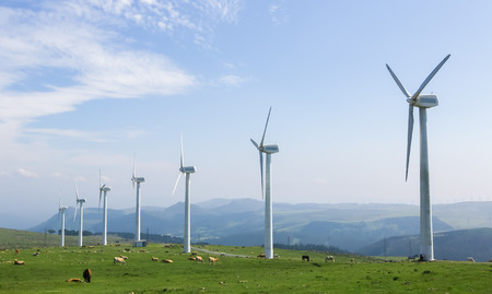 cleantech: Onshore wind farm in the Northern part of Galicia, Spain.