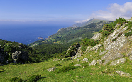 unspoiled: Beautiful coastal landscape near Cedeira, Galicia, Spain. This region, the Rias Altas, is known for its beautiful unspoiled nature. Stock Photo