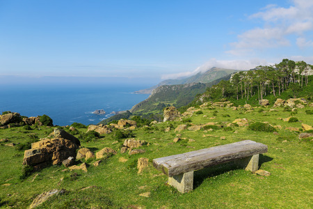 unspoiled: Bench at a lookout point on the beautiful coastal landscape near Cedeira, Galicia, Spain. This region, the Rias Altas, is known for its unspoiled nature.