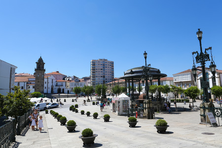 garcia: Central square or Plaza Irmans Garcia Neveira with the tower of the Ayuntamiento or Town Hall of the historic town Betanzos, Galicia, Spain. Editorial