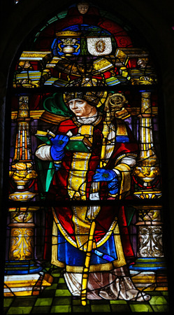 priesthood: Stained glass window depicting a bishop in the cathedral of Leon, Castille and Leon, Spain.