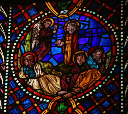 thou: Stained glass window depicting Jesus in the Garden of Gethsemane on Maundy Thursday, in the cathedral of Leon, Castille and Leon, Spain. This scene illustrates the famous words from the Bible: Father, if Thou art willing, let this cup pass from me.