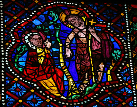 mother mary: Stained glass window depicting the resurrected Jesus and Mother Mary in the cathedral of Leon, Castille and Leon, Spain.