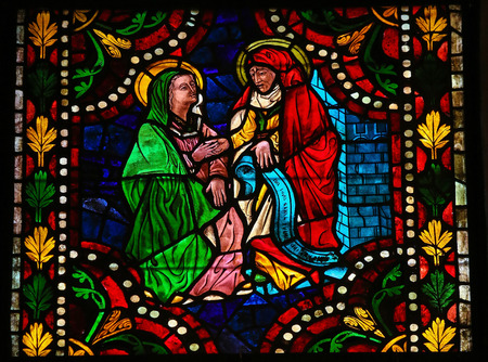 mother mary: Stained glass window depicting the Visitation, the visit of Mother Mary with Elizabeth in the cathedral of Leon, Castille and Leon, Spain.