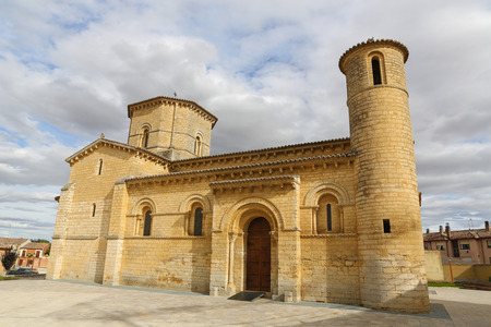 castille: Famous Romanesque church of St Martin of Tours (11th Century) in Fromista, Castille and Leon, Spain. This church is considered to be the perfect Romanesque church. It is a famous stop on the Way of St James to Compostela.